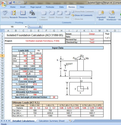 Isolated Footing Design Excel sheet Civil Engineers PK