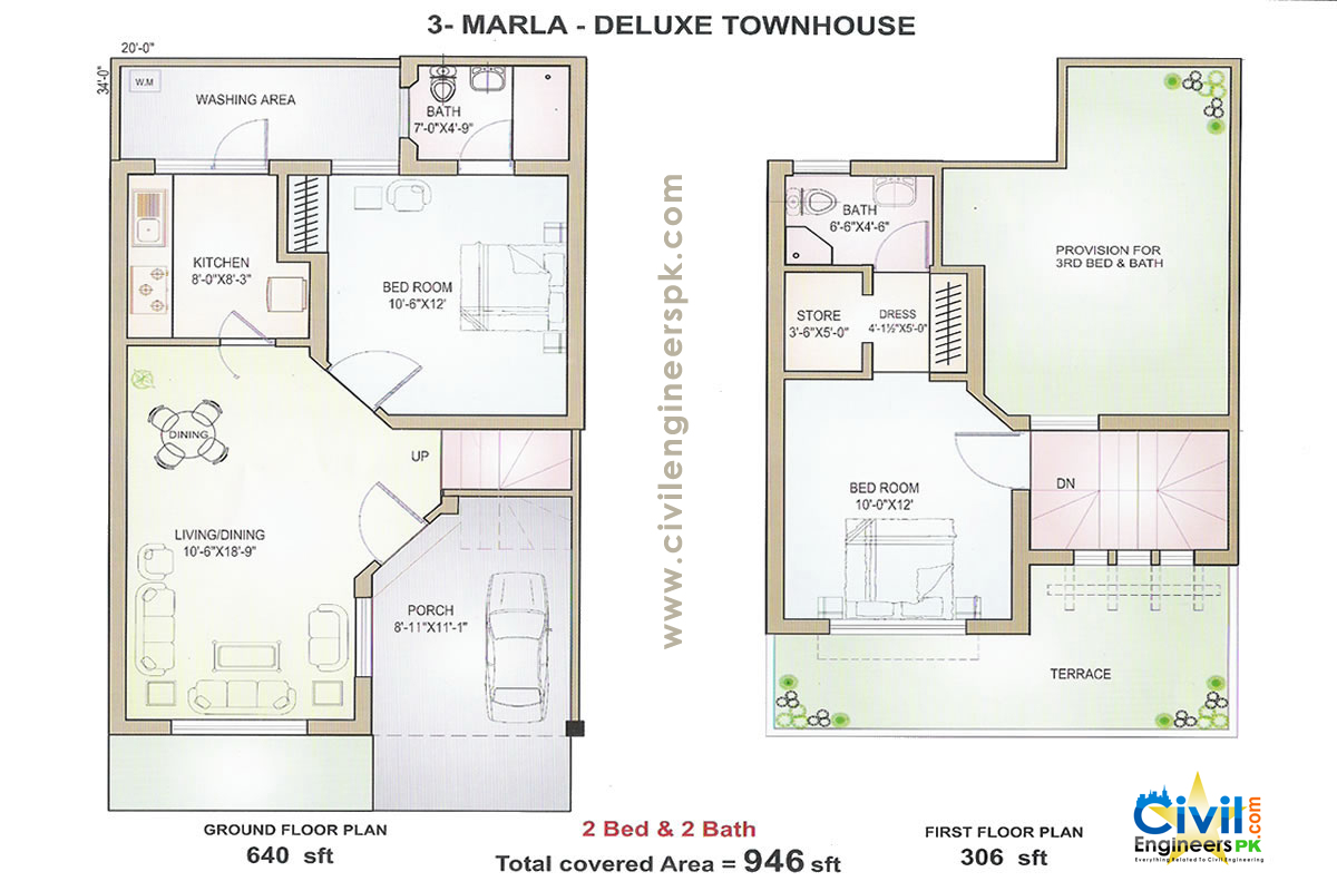 3 marla house plans civil engineers pk for Home designs map
