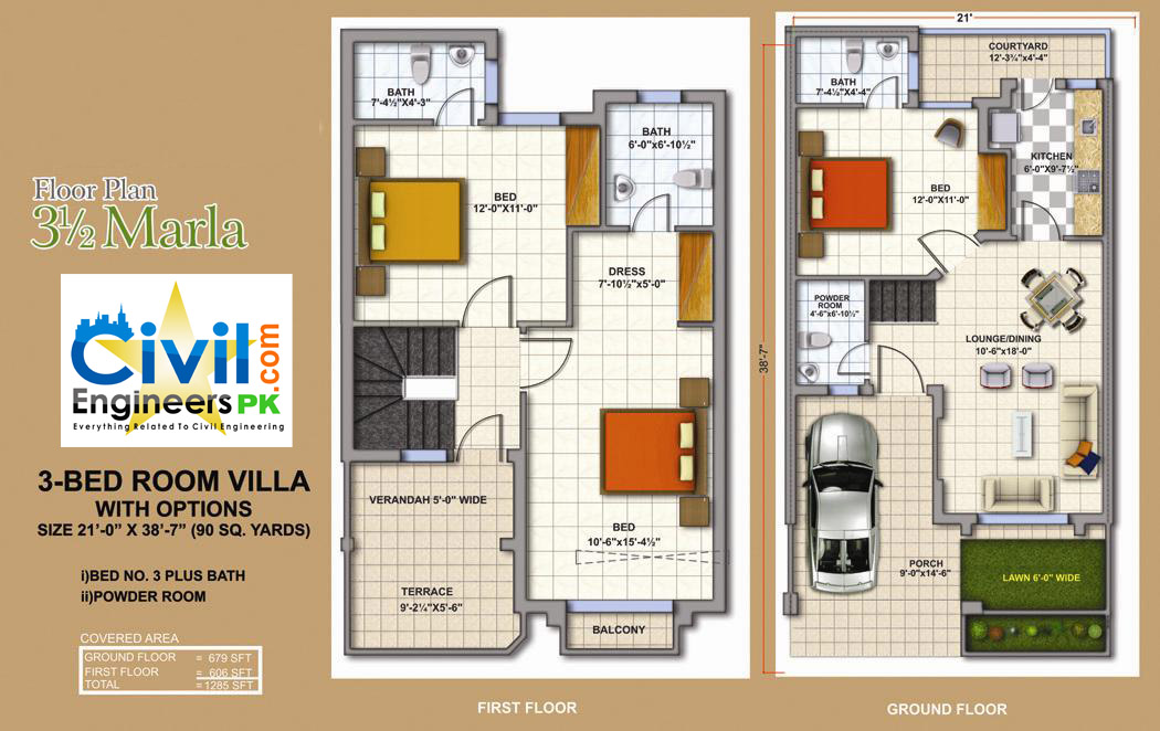 3 5 marla house plan civil engineers pk 5 marla house plan 3d