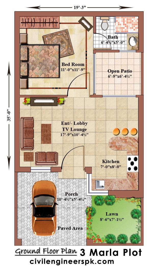 3 marla house floor plan
