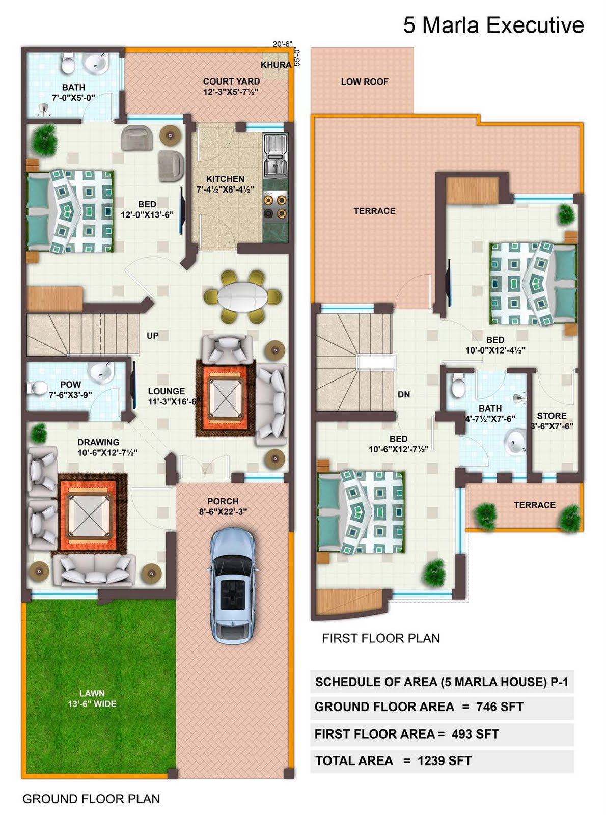 5 Marla Executive P on 3 Marla House Plan
