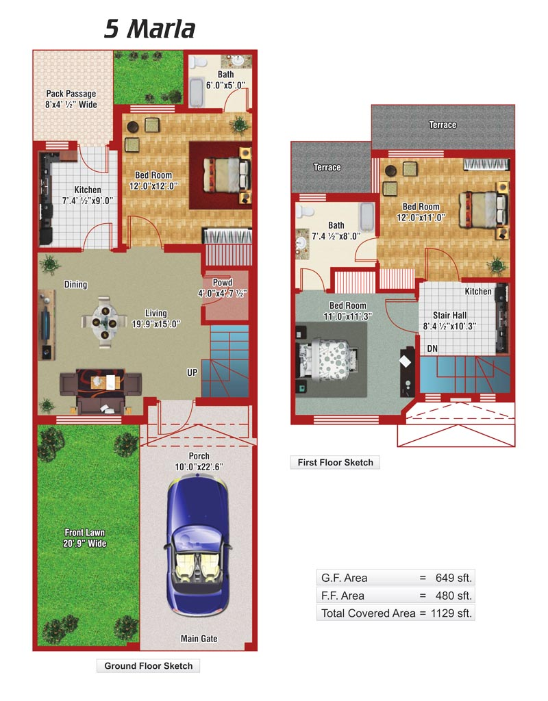 5 marla house plans civil engineers pk for Home garden design in pakistan
