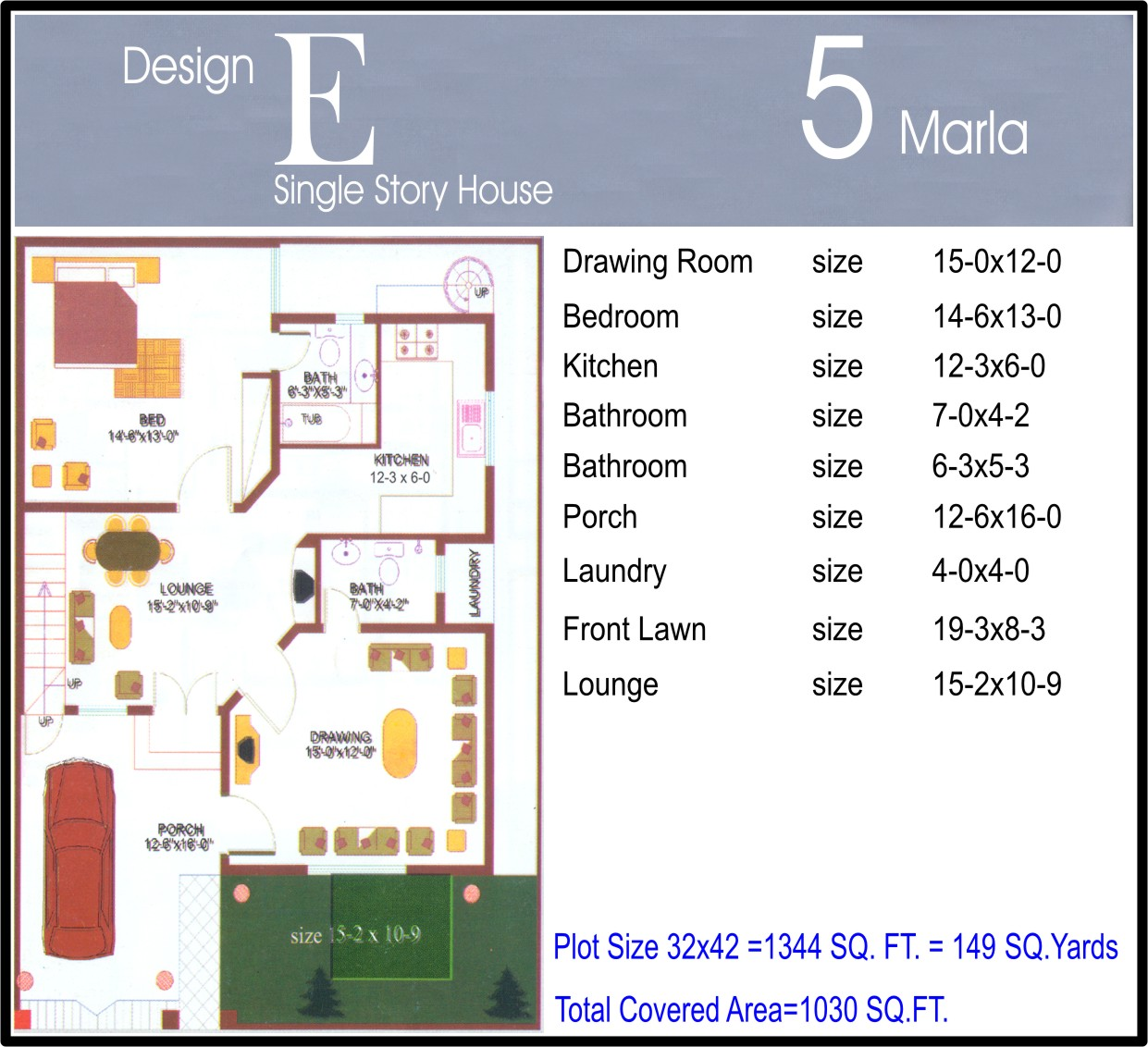 5 Marla House Map Design