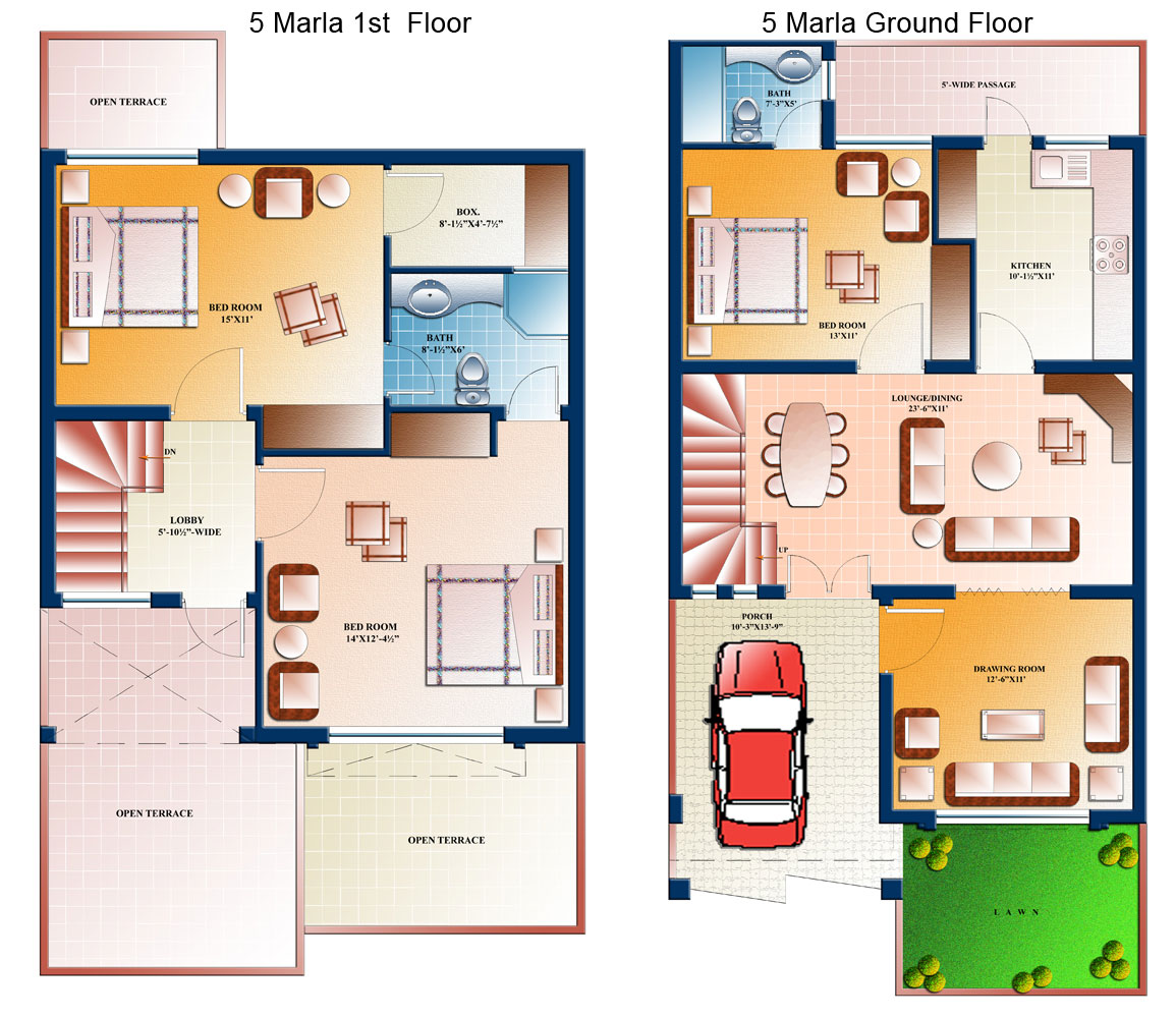 5 marla house plans civil engineers pk for Home designs map