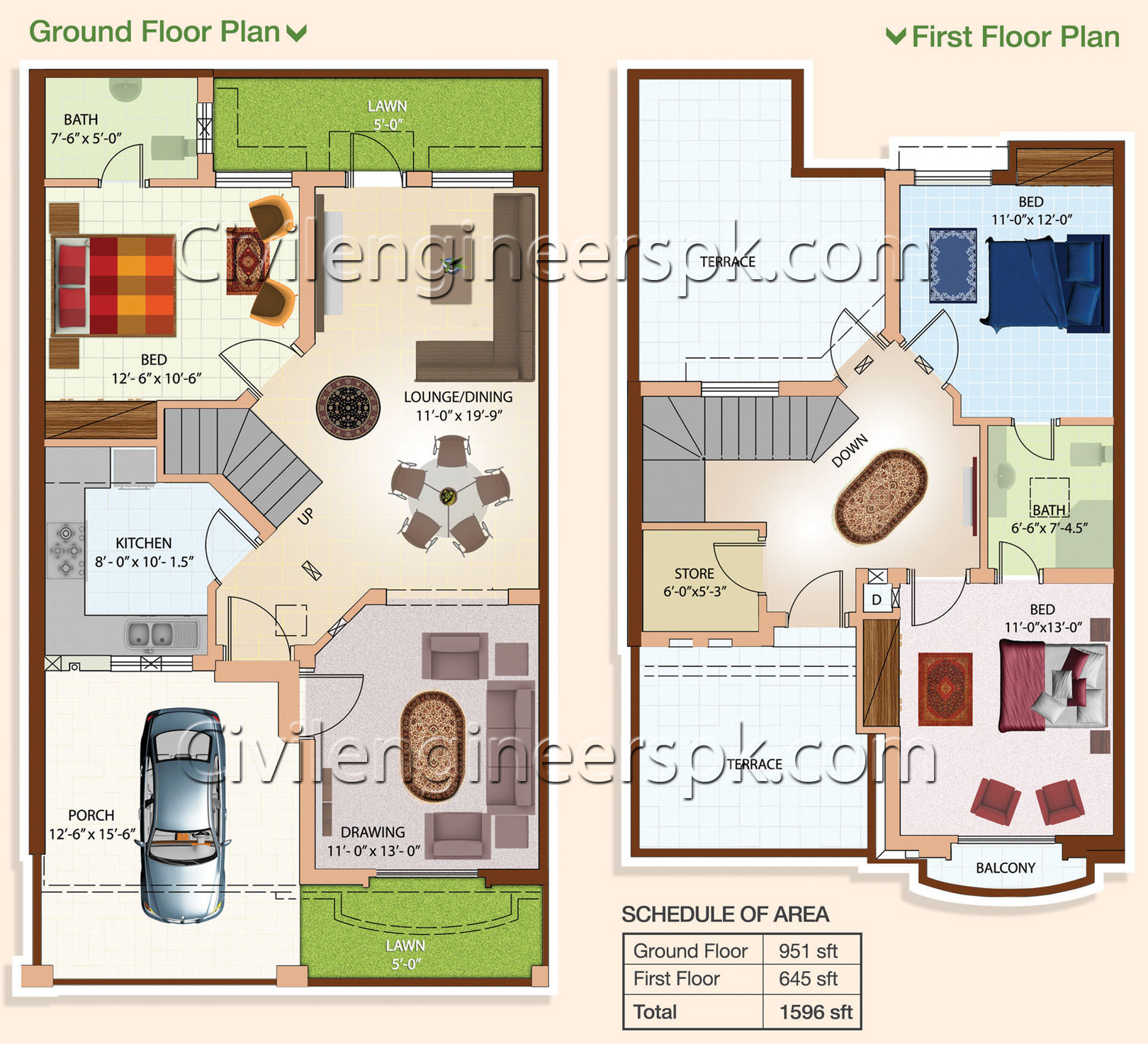 5 Marla House Plan Civil Engineers Pk