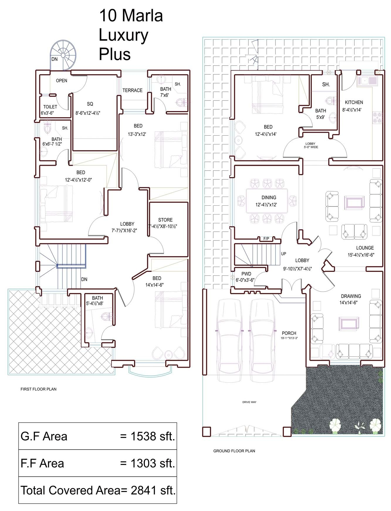 10 Marla House Plans - Civil Engineers PK