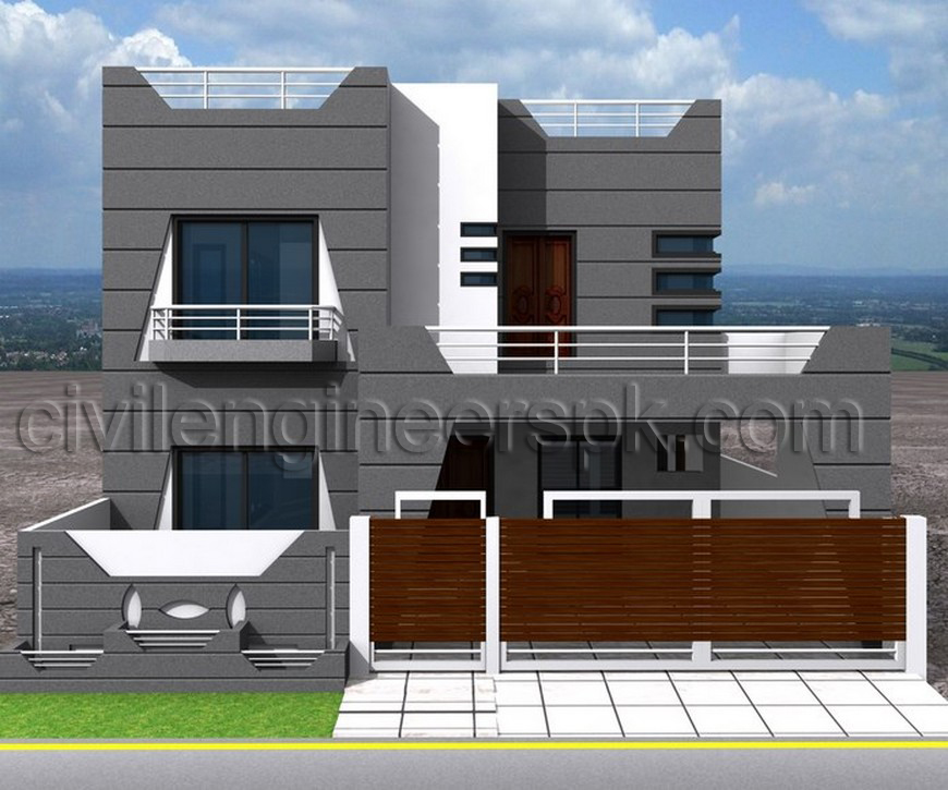 3d Front Elevation Of 5 Marla Houses : Marla house front elevation joy studio design gallery