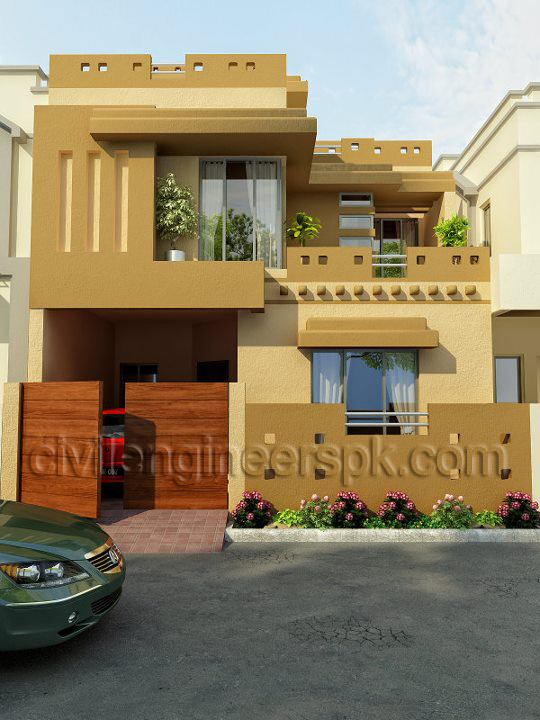 Front Elevation Of 3 Marla House : House front views civil engineers pk