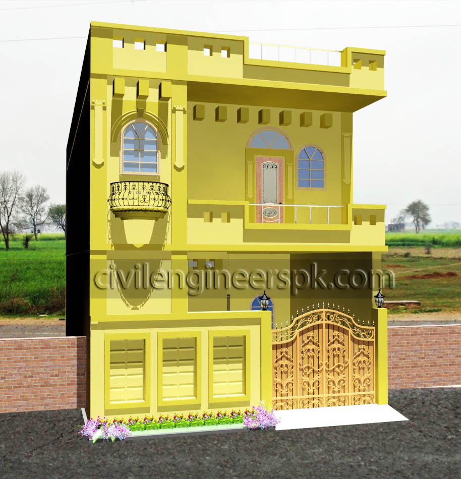 21 5 39 x 45 5 39 house design civil engineers pk for Normal house front design