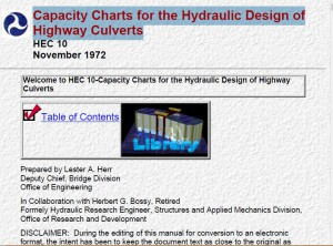 Capacity Charts for the Hydraulic Design of Highway Culverts