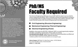 PhD MS faculty required in UMT