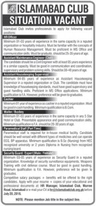 Assistant Maintenance Engineer Civil Required