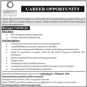 Manager Civil Works Required