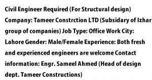 Fresh Civil Engineer Required