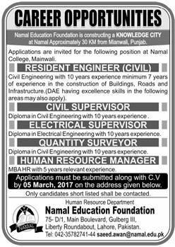 Civil Engineering jobs in Namal Education Foundation - Civil Engineers PK